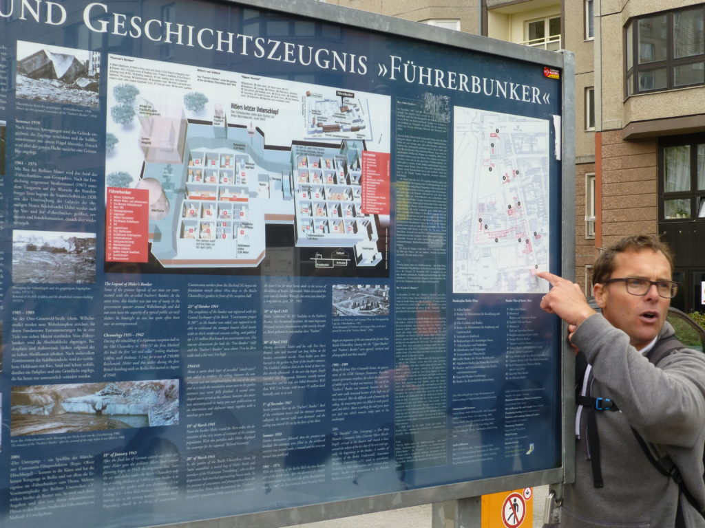 This is on the previous day's tour, but Mike is telling us about the Fuhrer's Bunker site.