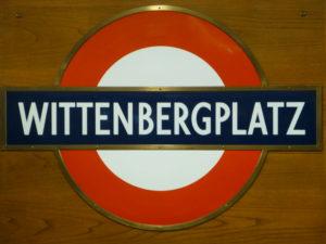 Wittenbergplatz station sign donated by London Transport.