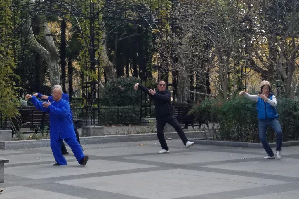 Retirees doing Tai Chi