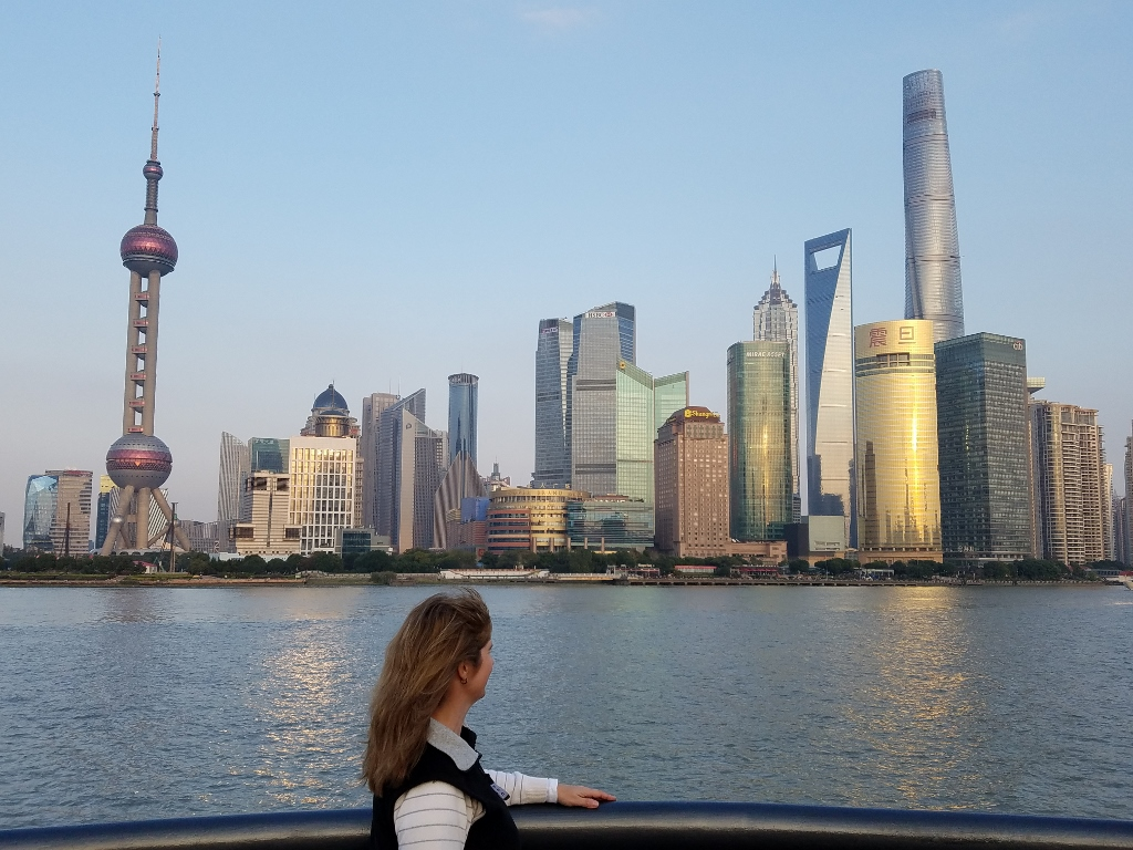 Admiring the view of Pudong